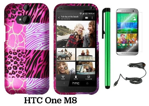 Htc One (M8) (For 2014 Htc New Flagship Android Phone; Us Carrier: Verizon, At&T, T-Mobile, Sprint) Premium Pretty Design Protector Hard Cover Case + Car Charger + Screen Protector Film + 1 Of New Assorted Color Metal Stylus Touch Screen Pen (Pink Exotic