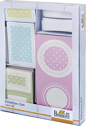 RBV Birkmann 442337 Kit d'Étiquettes Vintage Memories Carton Rose 13,5 x 19 x 2 cm 82 Pièces