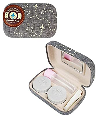 Compact Style Airplane Contact Lens Travel Kit Tweezers, Solution Bottle, Mirror and Twist Cap Lens