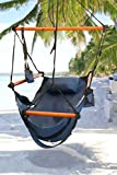 Deluxe Hanging Hammock Chair Blue Deluxe Swinging Chair Foot Rest & Cup Holder