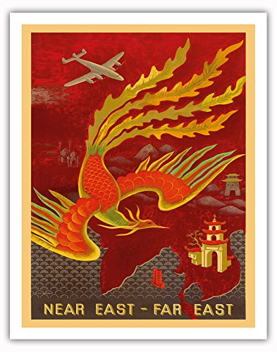 Near East, Far East - Lockheed Constellation flying to India, China and Japan, the Bird of Paradise countries - Vintage Airline Travel Poster by Lucien Boucher c.1946 - Fine Art Print - 11in x 14in Vintage Fine China Japan