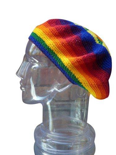 Inspirit Arts Tam Beret Rainbow Handmade Knit Dread Loc Rasta Reggae Hat front-616889