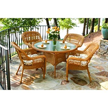 Portside 5 Piece Dining Set Fabric Color: Café Cove Stripe, Finish: Amber