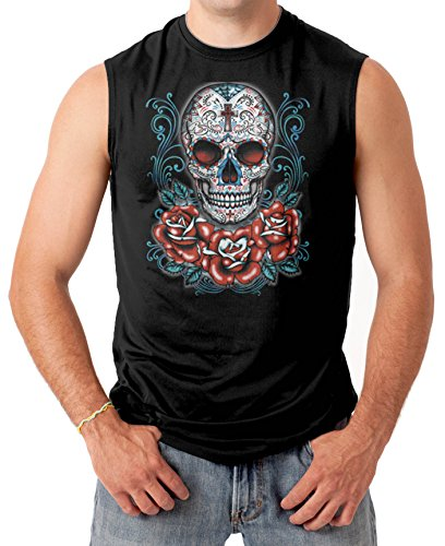 Sugar Skull With Red Roses Men'S Sleeveless T-Shirt Tee (Xl, Black)