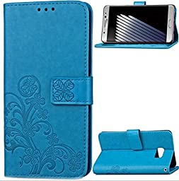 Galaxy Note 5 Case,Superstart Beauty Luxury Lucky Flowers Fashion Floral Blue PU Flip Stand Credit Card ID Holders Wallet Leather Case Cover for Samsung Galaxy Note 5--Blue