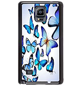 Printvisa Blue Butterfly Pattern Back Case Cover for Samsung Galaxy Note 4 N910::Samsung Galaxy Note 4 Duos N9100