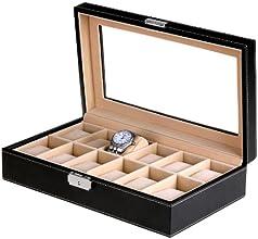 Songmics 3 Farbe Neu Hochwertiger Uhrenbox für 12 Uhren Uhrenkasten Schwarz Leder JWB003