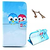 Uming Retro Colorful Pattern Print Leather case for Apple IPhone5C Iphone 5C Apple5C Little Birds Stand on the Wire Line for Rest with Love Red Heart in the Blue Sky PU Flip Leather Holster with Stand Stander Holder Hand Free Credit Card Slot Wallet Hasp