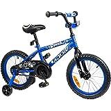 TaukiTM16 inch Kid Bike BMX Bike With Removable Training Wheels, Boy's Bike, Girl's Bike, Kid's Gift, Blue, for 4-8 Years Old