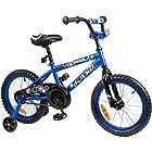 Tauki TM 16 inch Kid Bike BMX Bike With Removable Training Wheels, Boy's Bike, Girl's Bike, Kid's Gift, Blue, for 4-8 Years Old