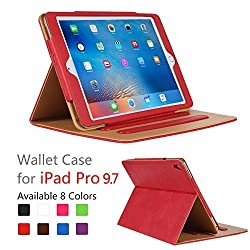 iPad Pro 9.7 Case - Leather Stand Folio Case Cover for Apple iPad Pro 9.7 Inch Case 2016, with Multiple Viewing Angles, Document Card Pocket ,Color (Red)