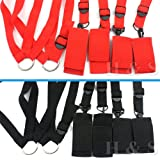 H&S® Under Bed Restraint System Bondage Cuffs Strap Set Kit Rope (Red)