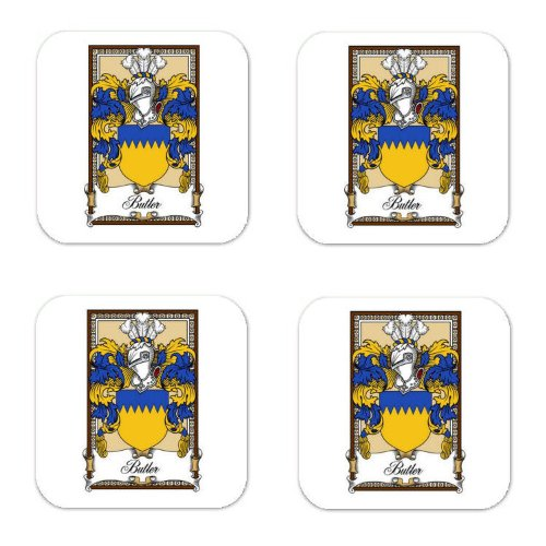 Butler Kirkland Sc Family Crest Square Coasters Coat Of Arms Coasters - Set Of 4 front-409060