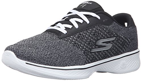 Skechers Performance Women's Go 4-Exceed Wide Walking Shoe, Black/White, 9.5 W US
