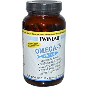 Omega 3 fish oil 1000 mg 100 softgels by twinlab for Omega 3 fish oil amazon