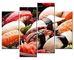 Canval prit painting Food Wall Art Japanese Cuisine Sushi Set 4 Panel Picture on Canvas