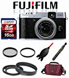 Fujifilm X20 (Silver) + Metal Adapter Tube and Lens Hood + Filters + LowePro Bag + 16GB Deluxe Kit