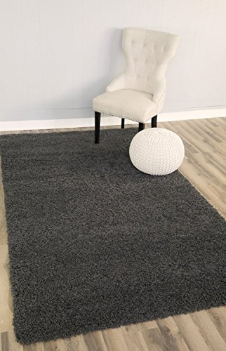 Dark Grey Shag Rug, 3-Feet 3-Inch by 5-Feet 3-Inch, 3x5 Solid & Thick Stain-Resistant Non-Shed Throw