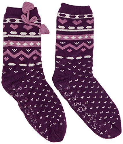 Totes Women's Heart Fairisle  Pom Pom Slipper
