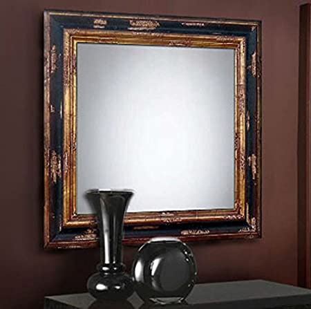 Wall classic wood mirrors: collection CAM. Colour: Black/Gold.