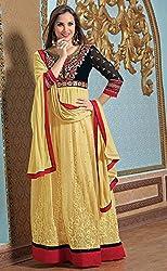 Yellow and Black Churidar Kameez Semi Stitched Material