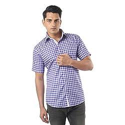 ZIDO Purple Blended Men's Checks Shirts PCFLXHS1314_Purple_50