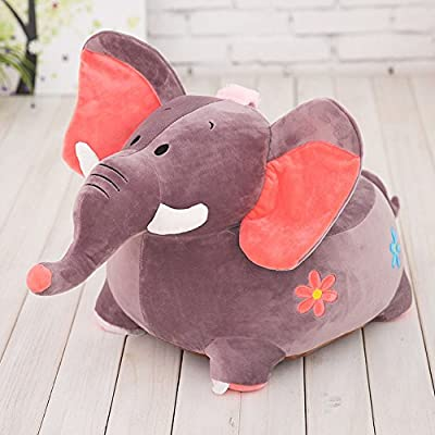 MeMoreCool Cute Cartoon Grey Elephant Children Plush Cartoon Sofa,Kids Removable Cover Toy Chair for Christmas/Children's day Gifts