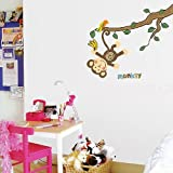 Fixpix Wall stickers/wall decals DS-08219 Monkey Hanging Over Tree wall stickers children, Wall paper Home Art Deco Mural Point wall Sticker,