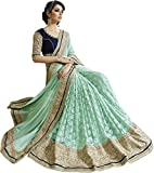 Madhav Retail -Beautiful Green Embroidery, Lace Work Georgette And Net Saree.