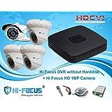 Hi Focus 8 CH 720P HDCVI DVR, 1.0 MP 3 Pc Dome 1Pc Bullet CCTV HDCVI Security Camera System