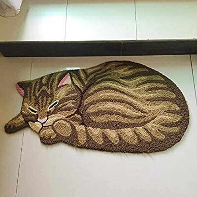 Yooyoo Brown Cute Sleeping Cat Shaped Bedroom Area Rug Tabby Cat Carpet 33 x 18 Inch