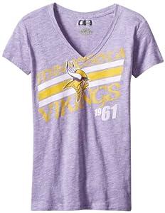 NFL Minnesota Vikings Victory Play IV Women's V-Neck T-Shirt, Purple Melange, Small