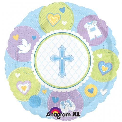 "Party Destination - Sweet Blessing Blue 18"" Foil Balloon - 1"