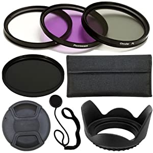 PLR Optics 52MM Professional Lens Accessory Kit - Includes: Filter Kit (UV, CPL, FLD, ND9) + Carry Pouch + Tulip Lens Hood + Snap-On Lens Cap + Cap Keeper Leash For The Nikon D5000, D3000, D3200, D5100, D3100, D7000, D4, D800, D800E, D600, D40, D40x, D50, D60, D70, D80, D90, D100, D200, D300, D3, D3S, D700, Digital SLR Cameras Which Have Any Of These (18-55mm, 55-200mm, 50mm) Nikon Lenses