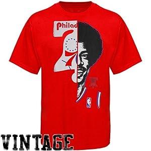 NBA Majestic Julius Erving Philadelphia 76ers Hardwood Classics Game Face T-Shirt -... by Majestic