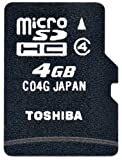 TOSHIBA マイクロSDメモリカード ミニSDアダプタ付 4GB SD-MH004GA