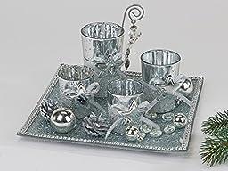 Formano Decorative Tray Tealight Holders Set Of 5 25 cm Silver