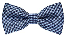Flora&Fred Men\'s Designer Handmade Classic Checkered Bow Tie Blue