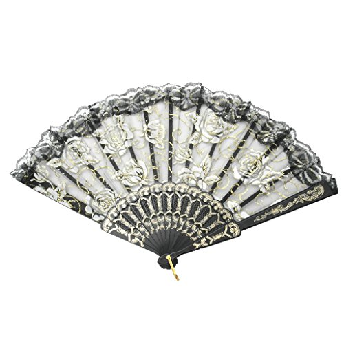 TrendBox Elegant Vintage Retro Flower Rose Lace Handheld Chinese Folding Fan For Dancing Ball Parties Ladies - Black