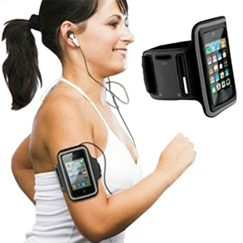 Best Fitting Running Armband For Iphone 5 /5S /5C, Ipod Touch - Water Resistant, Sweat Proof, Workout Armband Designed With Molded Neoprene - Fully Adjustable, Fits Like A Glove. Instant Access To Screen Via Protective Clear Cover, Easy Earphone Connectio
