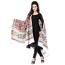 Banjara WomenS Cotton Stoles & Dupattas Kutchi Bharchak (Vip02 _White _Handicraft Dupatta_Free Size)