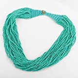 Fashion Blue Color Strand Handmade Multilayer Seed Beads Pendant Necklace Jewelry