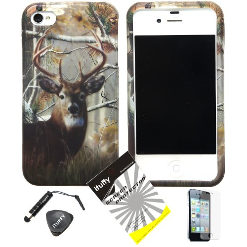 4 items Combo ITUFFY Stylus Pen Screen Protector Film Case Opener Wildlife Mountain Deer Grass Tree Camouflage Design Rubberized Snap on Hard Shell Cover Faceplate Skin Phone Case for Apple Iphone 4 4S 4G ATT - Verizon - Sprint