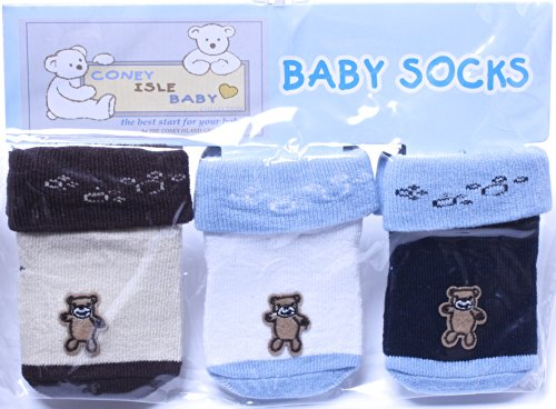 Coney Island - Multi Color Bear Baby Boy Socks Set Of 3 Pack back-919043