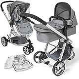 TecTake 3 en 1 Sillas de paseo coches carritos para bebes convertible gris