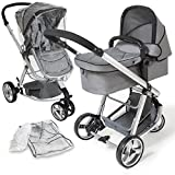 TecTake 3 in 1 Pushchair stroller combi stroller buggy baby jogger travel buggy kid's stroller grey wit mosquito net + rain cover