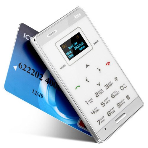 AIEK Worlds ultra Slimmest ATM card Size GSM Touch Mobile Phone WHITE