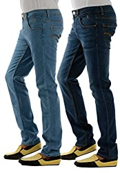 London Jeans Men's Slim Fit HIGH FASHION stretch jeans (pack of 2), (Light Blue, Dark Blue, 38)