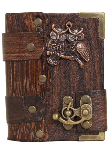 handmade-double-owl-pendant-on-a-brown-leather-journal-with-lock-diary-sketchbook-leatherbound-