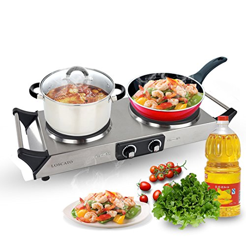 LOSCATO 1800W Portable Electric Cast Iron Cooktop Countertop Burner (Double Burner) (Cook Top Burner compare prices)